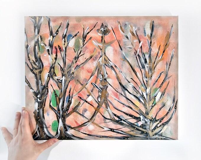 Nature Painting Pink Garden, Original Canvas Painting Pink Garden, Painting Gold Trees, Canvas Painting Wall Art, by Maria Marachowska