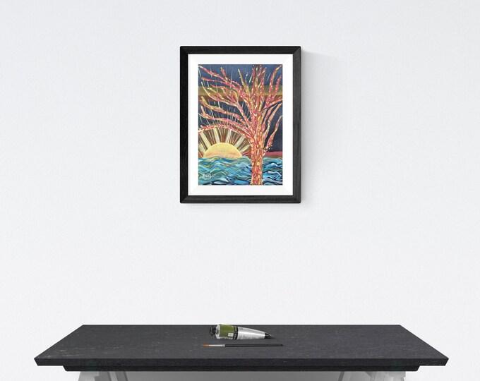 Magic Tree Painting, Watercolor Painting Tree, Colorfull Painting Tree, Framed Tree Painting, Beautiful Tree Painting, by Maria Marachowska