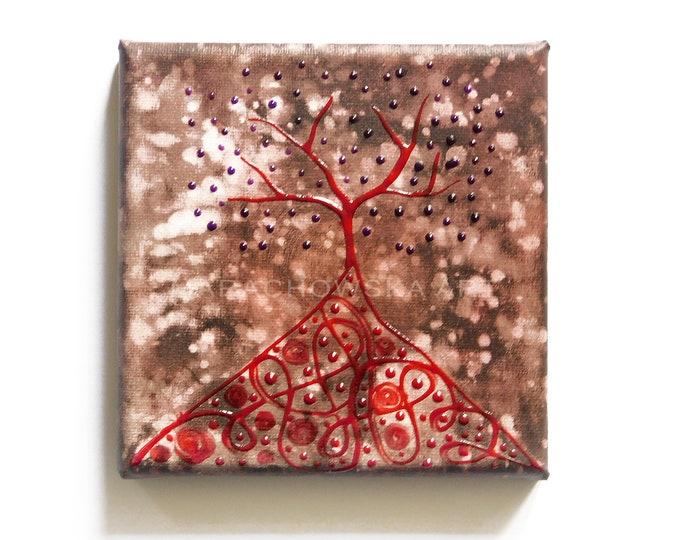 Original Painting Small Red Tree, Tree Painting, Canvas Painting, Original Painting, Dark Art, Red Tree Paintig, by Maria Marachowska