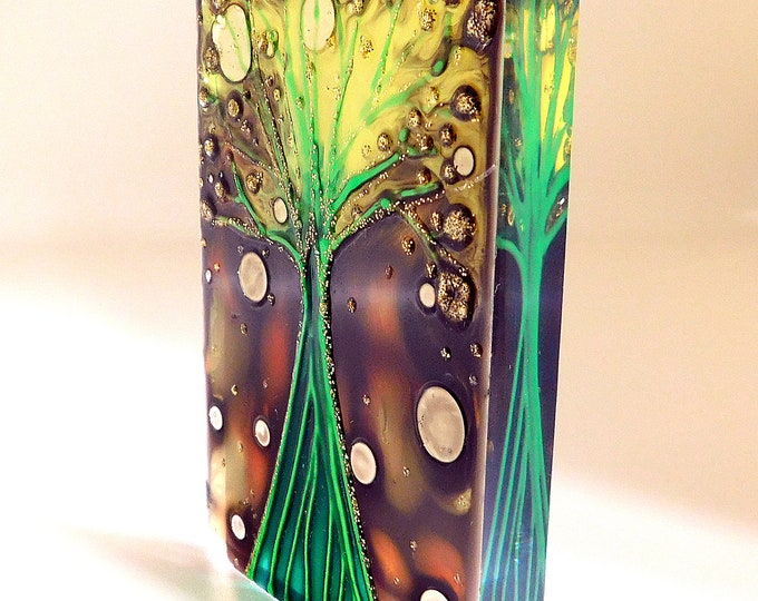 Magnet Tree, Glass Painting Tree, Stained Glass Tree, Glass  Artwork, Original Painting, Glass Painting, Glass Art, by Maria Marachowska