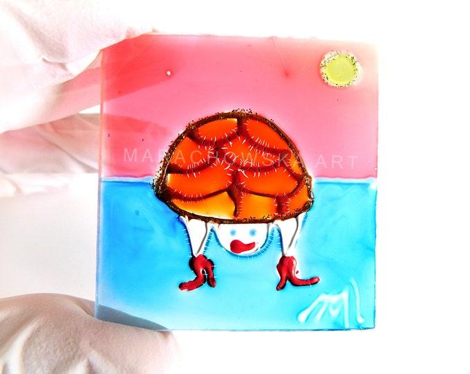 Window Turtle, Glass Art Turtle, Glass Painting Turtle, Turtle Painting, Turtles Glass Gifts, Glass Turtle, Glass Art, by Maria Marachowska