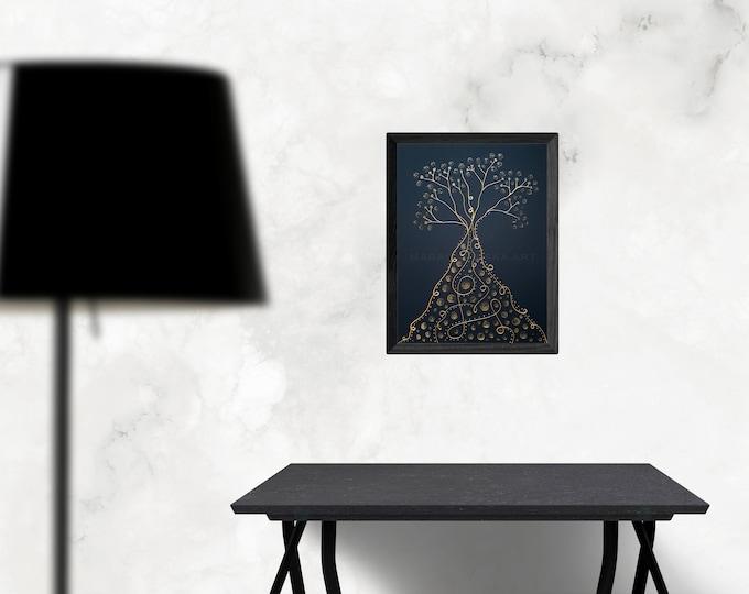 Painting Tree Canvas Gold, Art Nouveau Style Unique, Black Gold Painting, Original Art Nouveau Painting, Tree Artwork, by Maria Marachowska