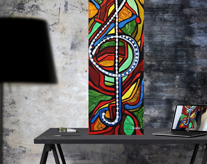 Clef - Colorful Music Painting - Canvas Music Painting - Heart Of Music - Music Painting - Big Size Painting - by Maria Marachowska