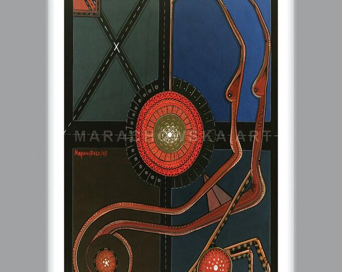 Octopus Print, Sea Monster Print, Octopus Card, Tiny Print, Octopus Art Print, Octopus Card, By Maria Marachowska