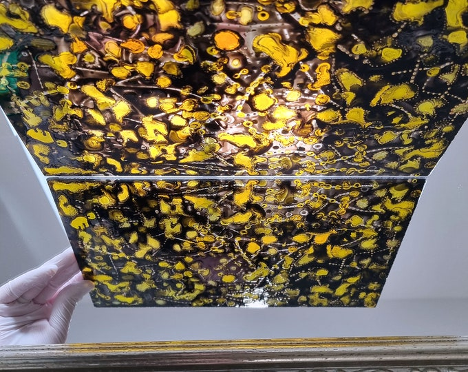 Sun Light Suncatcher Art, Abstract Glass Painting, Stained Glass Painting, Abstract Yellow Painting, Light Painting, by Maria Marachowska