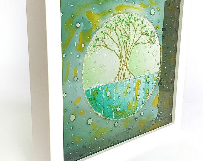 Glass Painting Tree - Suncatcher Nature - Suncatcher Tree - Glass Tree Painting - Pastel Tree Painting - by Maria Marachowska