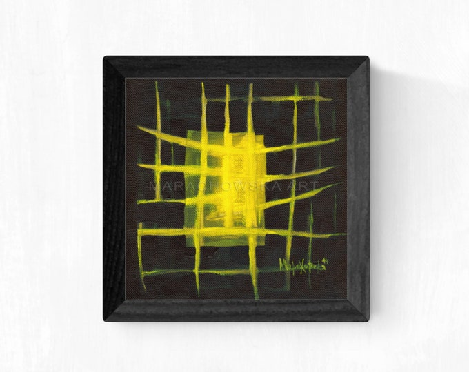 Abstract Canvas Painting Lines, Black Yellow Canvas Painting, Framed Abstract Painting, Abstract Painting Shape Art, by Maria Marachowska