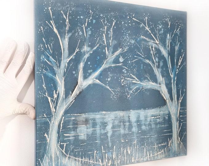 Blue Winter Trees Canvas Painting, Original Painting Trees, Seascape Painting Trees, Winter Seascape Painting, by Maria Marachowska