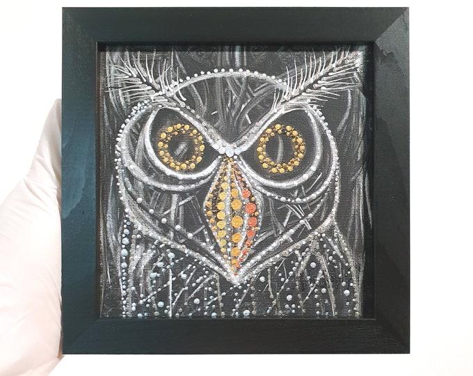 Original Owl Painting - Owl Canvas Painting - Owl Textured - Framed Owl Painting - by Maria Marachowska