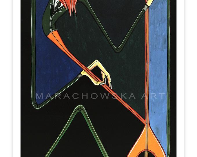 Music Poster Instrument - Violin Art - Violin Print - Music Art Print Violin - Music Print Poster Green - by Maria Marachowska