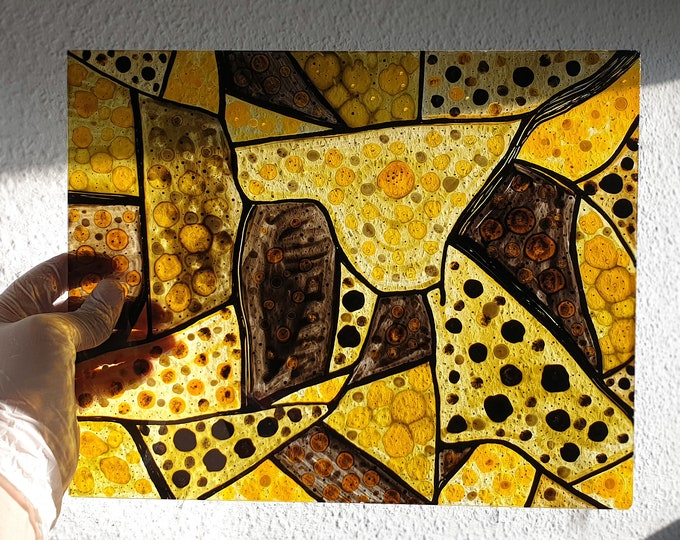 Abstract Glass Painting - Stained Glass Abstract - Stained Glass - Window Decoration Gold - Stained Glass Painting - by Maria Marachowska