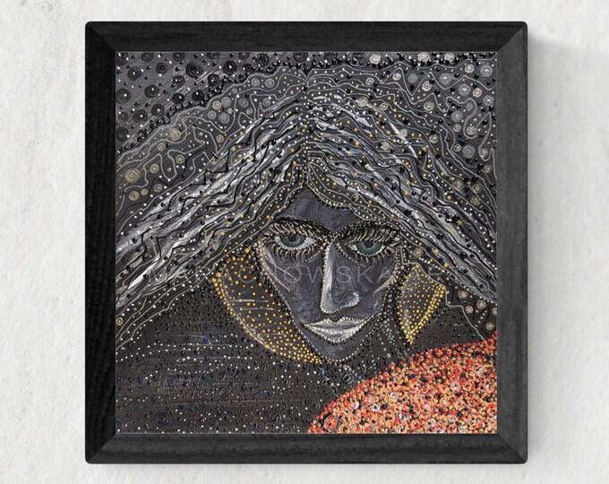 Dark Painting Girl, Original Painting Girl, Framed Painting Girl, Girl Painting, Girl Artwork, Surreal Painting, by Maria Marachowska