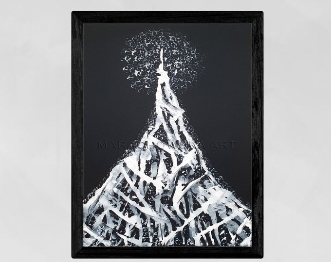 Painting Black White Tree, Framed Tree Painting, Canvas Painting Tree, Original Tree Painting, Moon Tree Painting, by Maria Marachowska