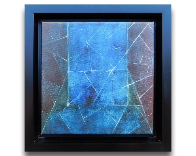 Canvas Print Abstract Blue Geometric, Canvas Reproduction Abstract, Canvas Blue Reproduction, by Maria Marachowska