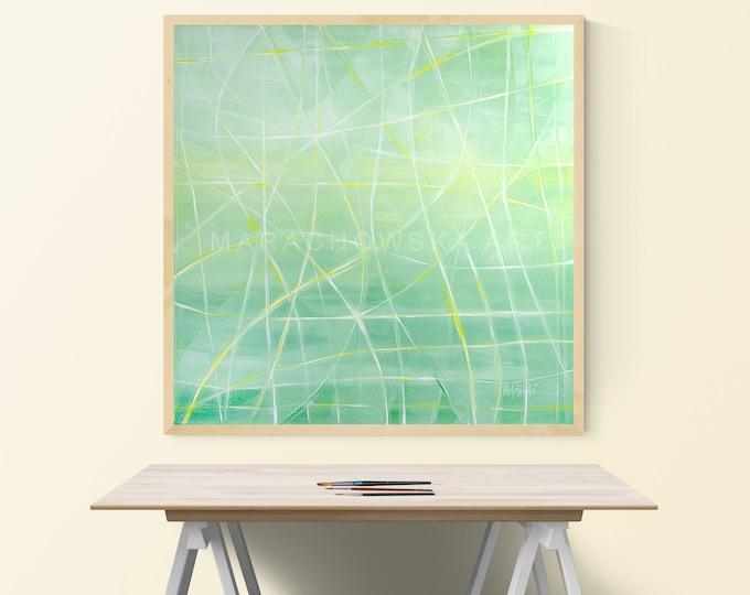 Painting Green Light Abstract, Framed Green Painting, Canvas Painting Abstract, Acrylic Canvas Painting, Nature Artwork,by Maria Marachowska