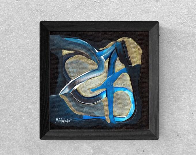 Abstract Blue Gold Painting Framed, Original Canvas Painting, Textured Canvas Gold Painting, by Maria Marachowska