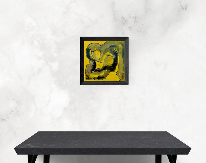 Canvas Painting Yellow Woman - Portrait Painting Yellow Woman - Framed Canvas Painting Woman - by Maria Marachowska