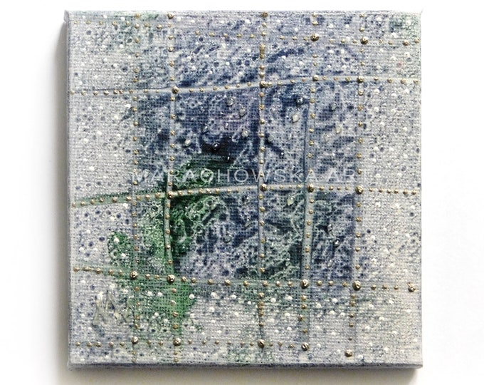 Painting Blue Window - Small Painting Window - Painting Window Abstract -  by Maria Marachowska
