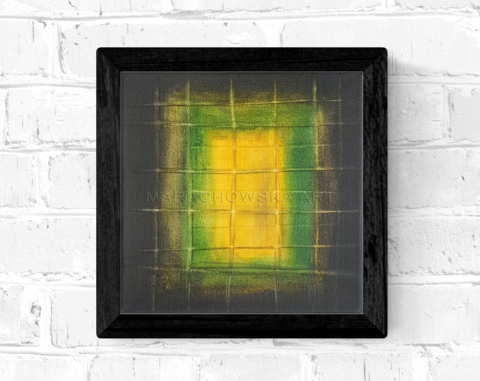 Geometric Abstract Painting Yellow Green - Abstract Canvas Artwork Green - Unique Painting Present - Abstract Painting -by Maria Marachowska