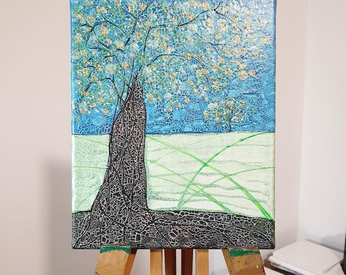Original Painting Textured Tree, Framed Painting, Turquoise Painting, Landscape Painting, Tree Painting, Nature Painting, Maria Marachowska