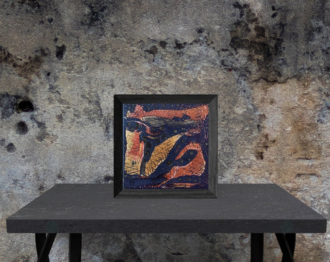 Gold Abstract Canvas Painting Black Framed, Original Painting, Acrylic Canvas Painting, Gold Painting, Textured Art, by Maria Marachowska