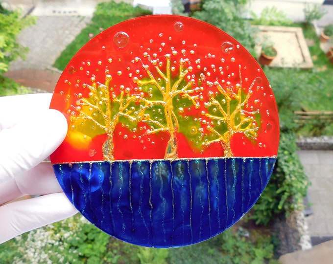 Stained Glass Painting Tree - Red Glass Tree Painting -  Glass Painting Tree - Faux Stained Glass - Circular Painting - by Maria Marachowska