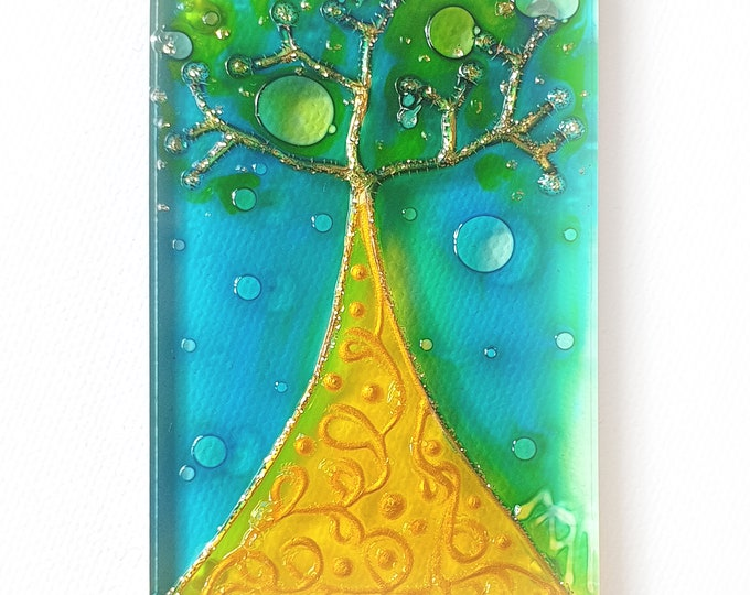 Painting Seascape Tree, Glass Magnet Tree, Magnet Tree, Stained Glass Tree, Tree Suncatcher, Tree Painting, Tree, by Maria Marachowska