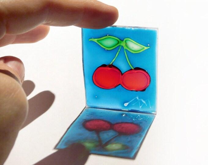 Original Cherry Painting, Suncatcher Cherry, Window Cherry, Glass Painting Cherry, Glass Painting, Cherry Art, by Maria Marachowska