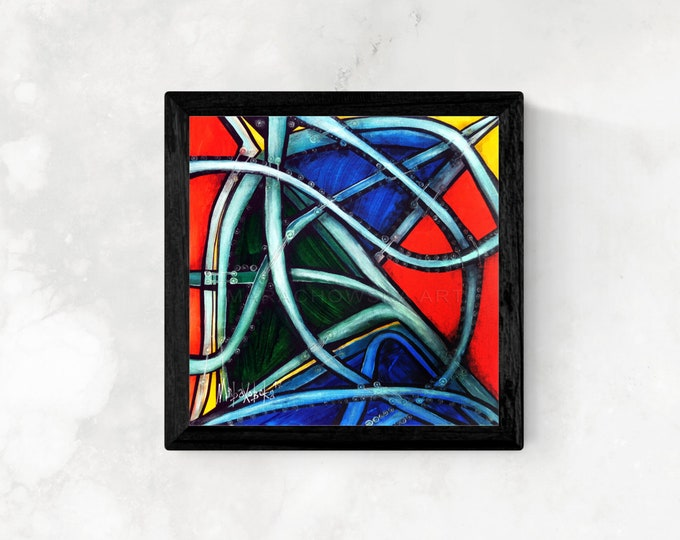 Abstract Canvas Painting Lines, Framed Painting, Original Painting, Abstract Painting, Artwork, Contemporary Art, by Maria Marachowska