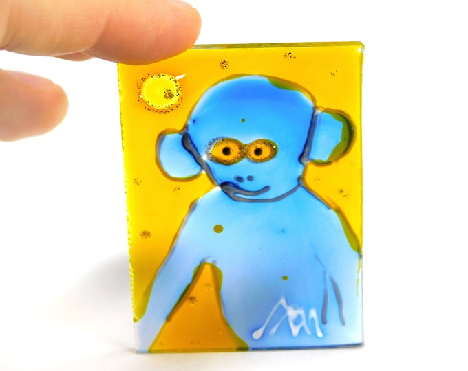 Monkey Painting, Glass Painting Monkey, Stained Glass Monkey, Monkey Art, Glass Painting, Suncatcher, by Maria Marachowska