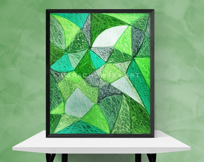 Abstract Lines Painting - Green Lines Painting - Green Canvas Painting Gift Unique - Abstract Painting - Original Art - by Maria Marachowska