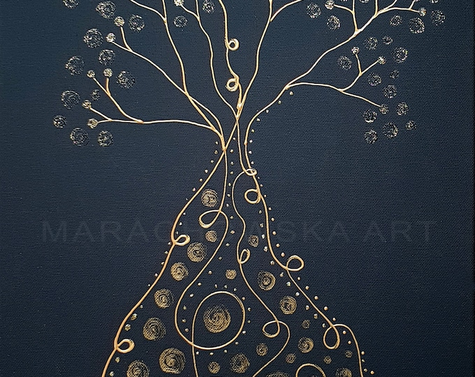 Painting Tree Canvas Gold, Art Nouveau Style Unique, Black Gold Painting, Original Art Nouveau Painting, Tree Artwork, by Maria Marachowska