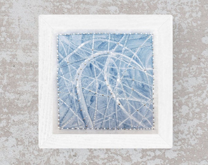 Textured Painting Abstract Silver - Original painting Abstract Silver - Painting Abstract Silver Blue - by Maria Marachowska