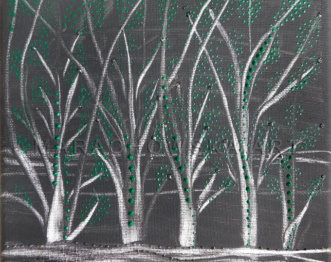 Canvas Painting Night Trees, Framed Painting Trees, Originals Painting Tress, Nature Painting Trees, Trees Painting, by Maria Marachowska