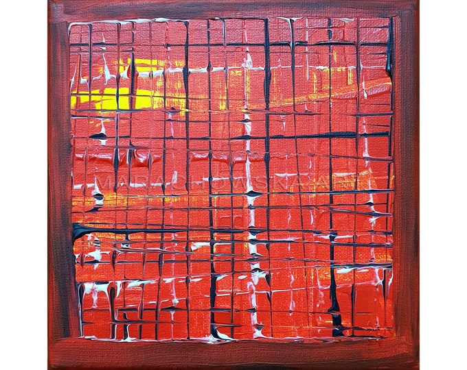 Abstract Canvas Art Red Textured, Abstract Red Painting, Framed Abstract Painting, Red Painting, Orignal Painting, by Maria Marachowska