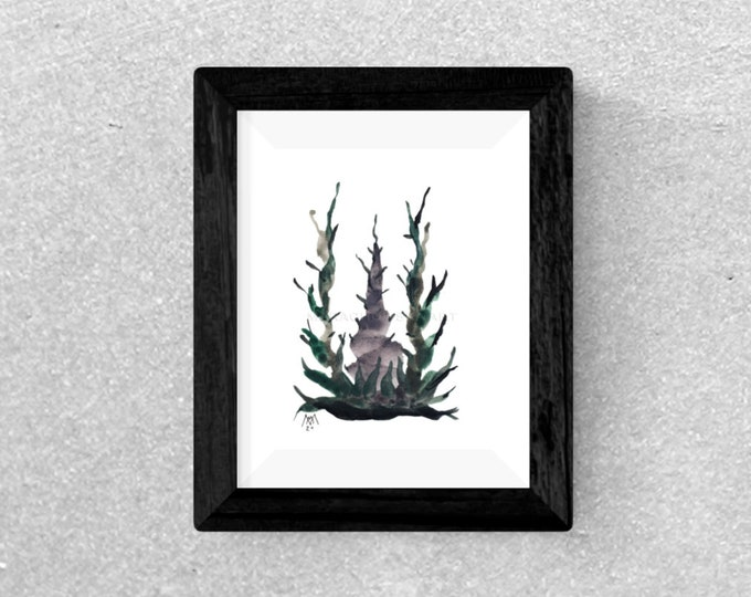Original Cactus Watercolor Painting - Watercolor Painting Cactus - Minimal Tree Watercolor Painting - by Maria Marachowska
