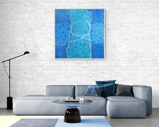 Large Wall Art Oversized, Turquoise Abstract Painting, Original Abstract Painting, Canvas Painting Blue, Blue Artwork, by Maria Marachowska