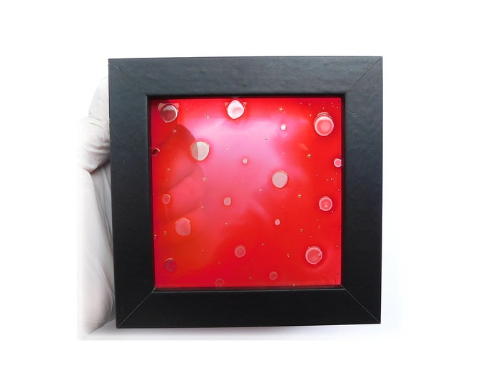 Red Glass Painting Framed, Suncatcher Abstract, Minimalism Painting Red, Glass Painting, Glass Artwork, Red Painting,by Maria Marachowska