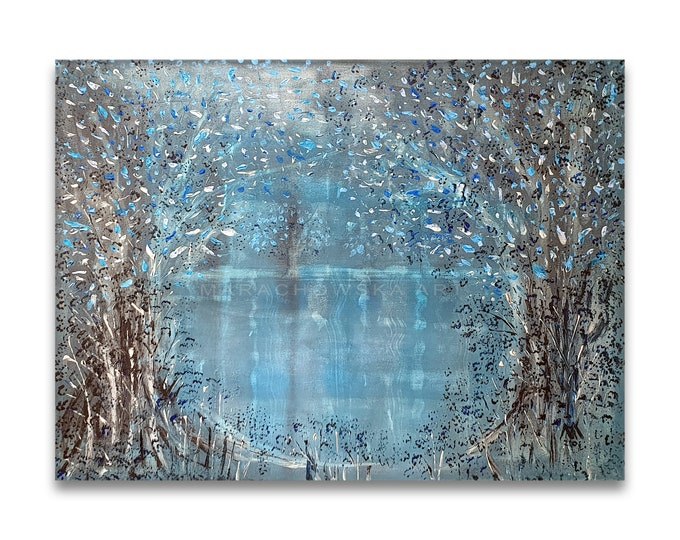 Painting Blue Nature Seascape, Framed Painting Trees, Acrylic Painting Trees, Seascape Painting, Trees Painting, by Maria Marachowska