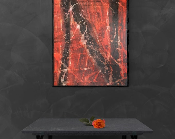 Abstract Painting Universe, Original Space Painting, Original Canvas Red Abstract Painting, Abstract Painting, by Maria Marachowska
