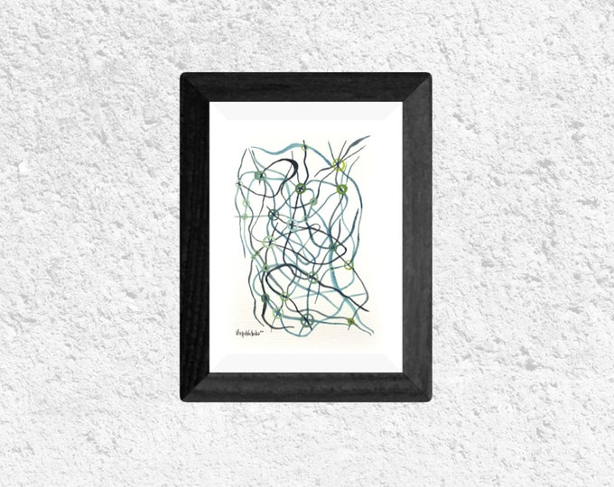 Watercolor Painting Lines - Abstract Watercolor Lines - Framed Abstract Watercolor Painting - by Maria Marachowska