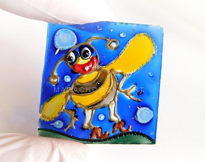 Bee Painting Original, Glass Painting Bee, Suncatcher Bee, Funny Bee, Glass Artwork, Window Painting, by Maria Marachowska