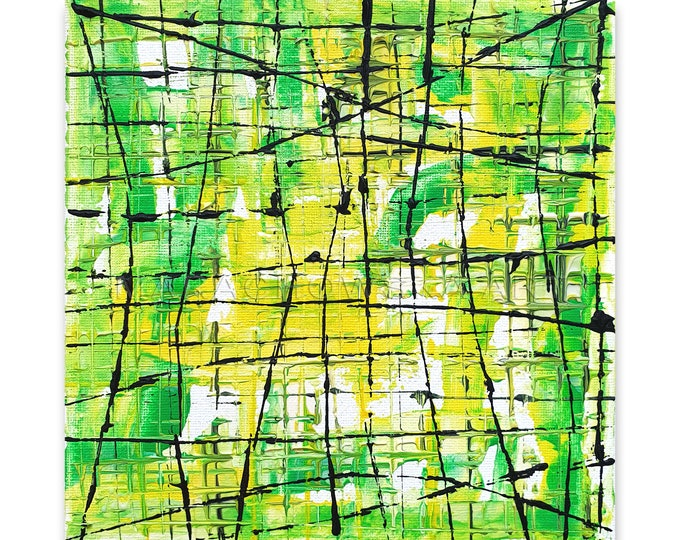 Original Painting Green Field, Abstract Painting Textured Green Framed, Lines Painting, Abstract Painting, Artwork, by Maria Marachowska