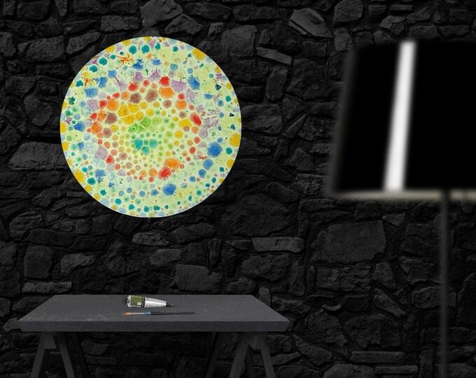 Circular Painting, Circular Moon, Glow Painting, Abstract Moon Artwork, Circular Canvas Painting, Moon Painting, Moon, by Maria Marachowska