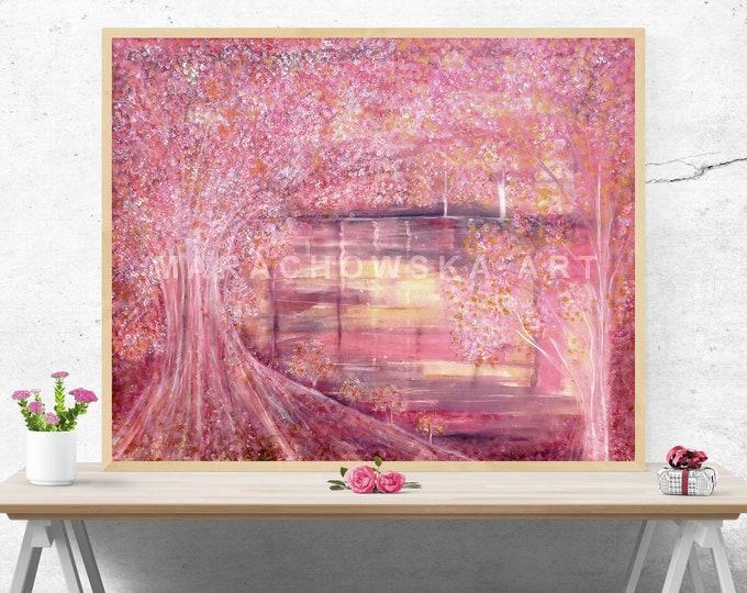 Large Oil Canvas Painting Nature - Seascape Tree Painting - Large Canvas Oil Wall Art Trees - by Maria Marachowska