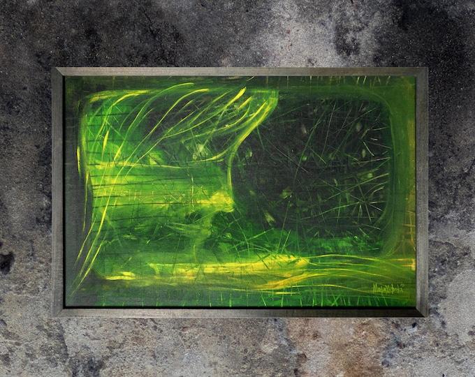 Surreal Green Painting, Framed Painting, Surreal Painting Dreamwalker, Original Painting, Green Yellow Painting, by Maria Marachowska