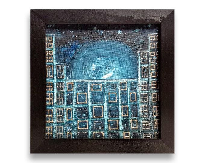 Moon Painting Framed - Abstract Painting Moon - Blue Moon Artwork - Moon Painting Canvas - by Maria Marachowska