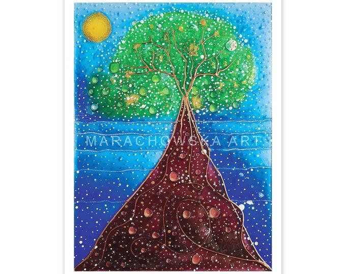 Tree Blue Postcard, Sea Postcard, Nature Postcard Tree, Gold Tree Postcard, Postcard Art, Postcard Art Print Nature, by Maria Marachowska