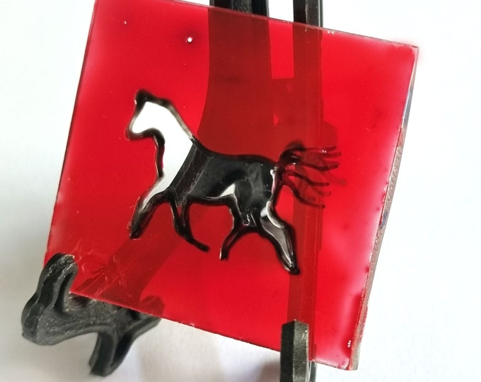 Red Painting Horse, Glass Painting Horse, Small Horse Painting, Horse Painting, Suncatcher Horse, Window Art Horse, by Maria Marachowska
