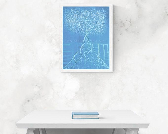Painting Impressionism Tree, Blue Art Impressionism Painting, Canvas Impressionism Tree Painting, Canvas Tree Painting, by Maria Marachowska